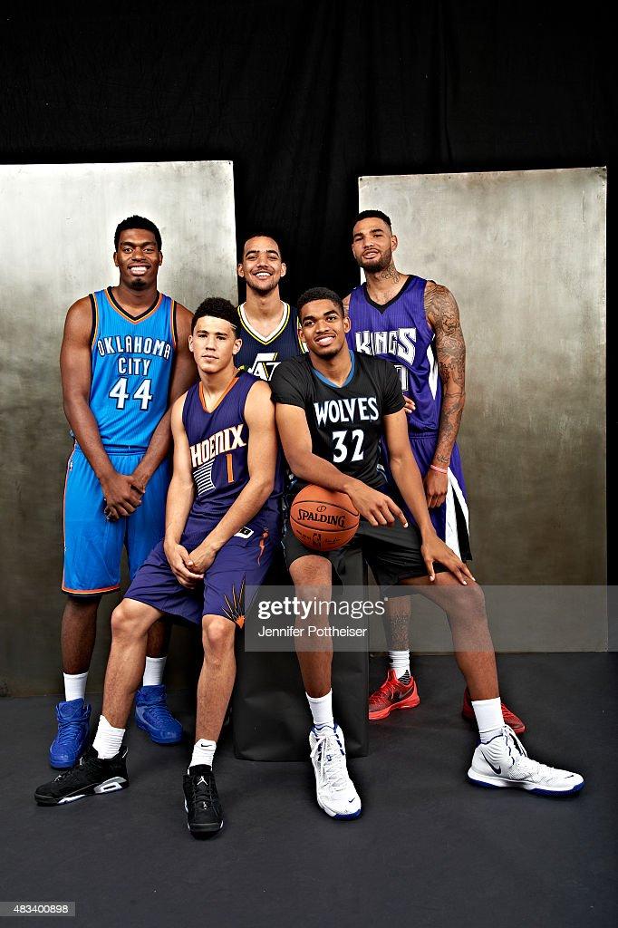 University of Kentucky draftees Dakari Johnson of the Oklahoma City Thunder Devin Booker of the Phoenix Suns Trey Lyles of the Utah Jazz KarlAnthony...
