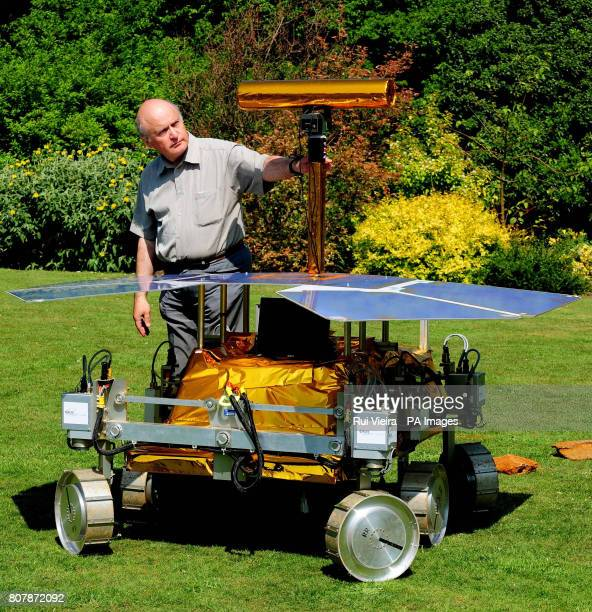 University of Leicester Professor Mark Sims with a development model of the Mars Rover called Bridget at the University as he is leading a team of...