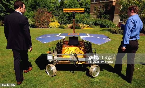 University of Leicester scientists Richard Ambrosi and Ian Hutchinson with a development model of the Mars Rover called Bridget at the University as...