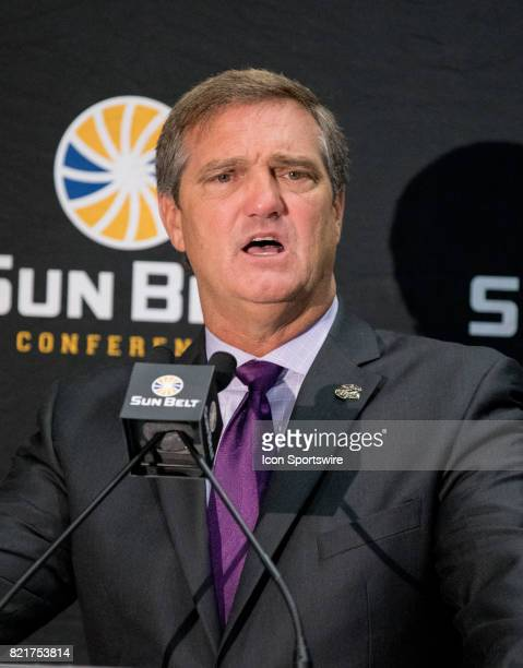 University of Louisiana at Monroe assistant head coach Mike Collins interacts with media during the Sun Belt Media Day on July 24 2017 at the...