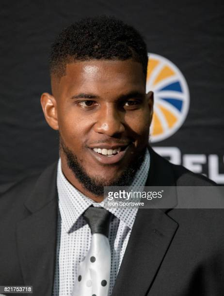 University of Louisiana at Monroe offensive lineman Frank Sutton Jr interacts with media during the Sun Belt Media Day on July 24 2017 at the...