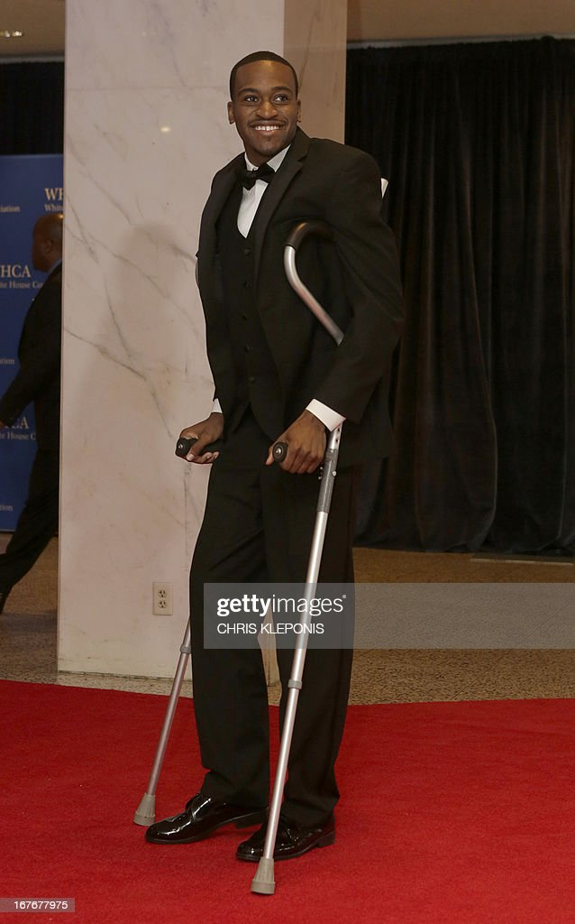 University of Louisville basketball player Kevin Ware arrives at the annual White House Correspondents' Association dinner in Washington DC April 27...