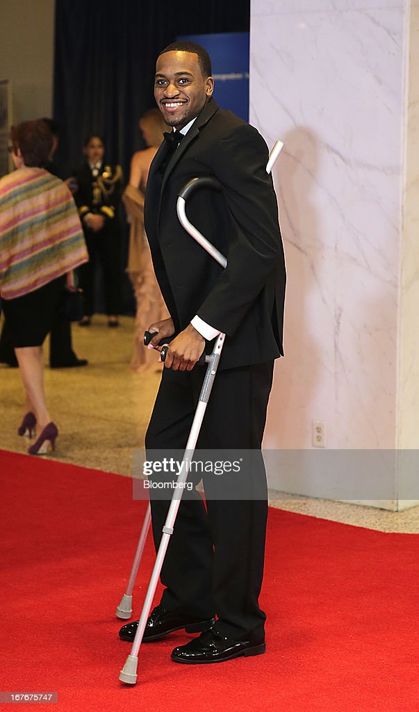 University of Louisville Cardinals basketball player Kevin Ware arrives for the White House Correspondents' Association dinner in Washington DC US on...
