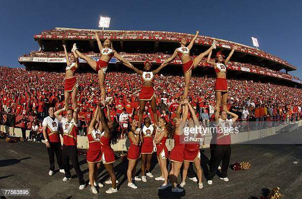 University of Maryland Cheerleaders perform during the game between the Maryland Terrapins and the Clemson Tigers October 27 2007 at Byrd Stadium in...