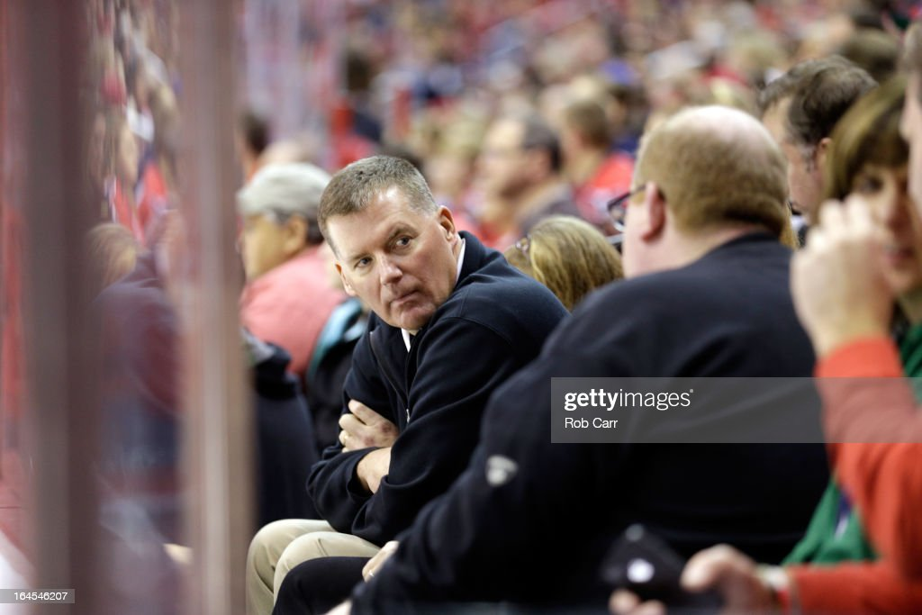 University of Maryland football coach Randy Edsall watches the Washington Capitals and New York Rangers game at Verizon Center on March 10, 2013 in Washington, DC.