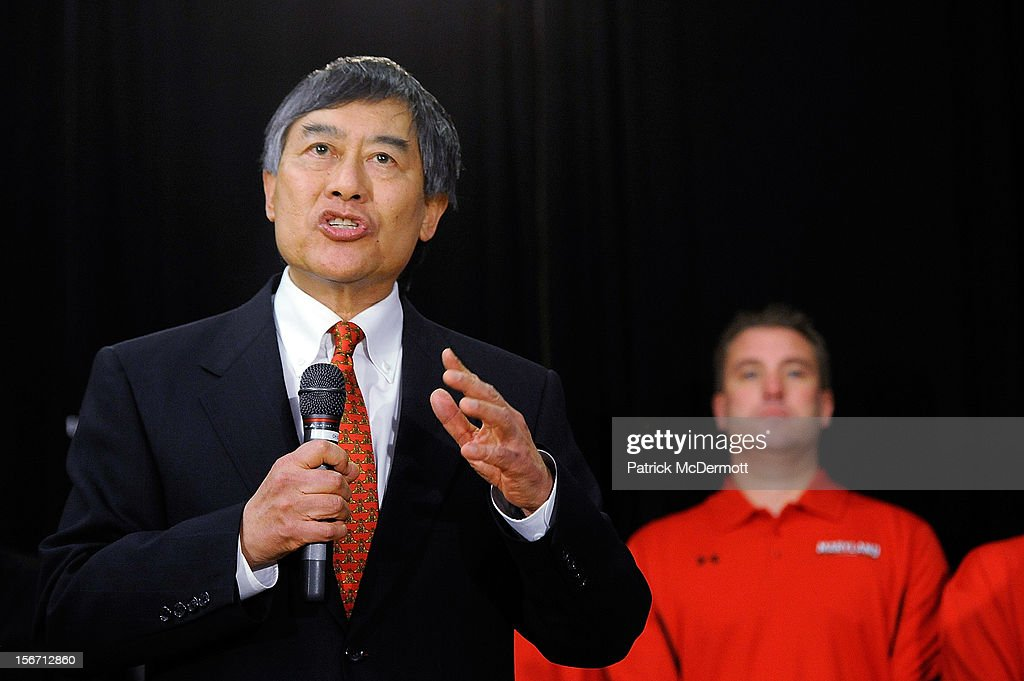 University of Maryland President Wallace D. Loh (L) announces Maryland's decision to join the Big Ten Conference during a press conference on November 19, 2012 in College Park, Maryland.