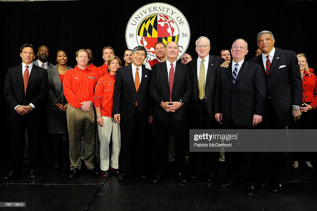 University of Maryland President Wallace D. Loh, Big Ten Commissioner James E. Delany, University System of Maryland Chancellor Brit Kirwan, University System of Maryland Chairman of the Board of Regents James L. Shea, and Director of Athletics Kevin Anderson stand for a photo after a press conference announcing that University of Maryland is joining the Big Ten Conference on November 19, 2012 in College Park, Maryland.