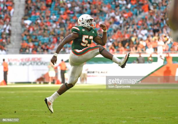 University of Miami linebacker Zach McCloud celebrates a sack during an NCAA football game between the Georgia Tech Yellow Jackets and the University...