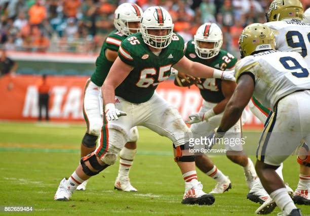 University of Miami offensive lineman Corey Gaynor plays during an NCAA football game between the Georgia Tech Yellow Jackets and the University of...