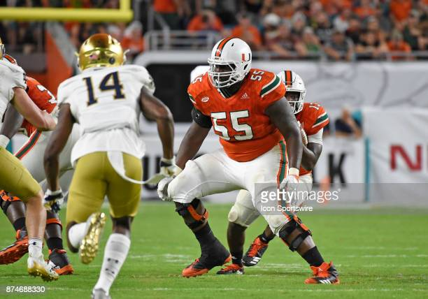 University of Miami offensive lineman Navaughn Donaldson plays during an NCAA football game between the Notre Dame Fighting Irish and the University...