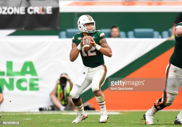 University of Miami quarterback Malik Rosier passes during an NCAA football game between the Georgia Tech Yellow Jackets and the University of Miami...