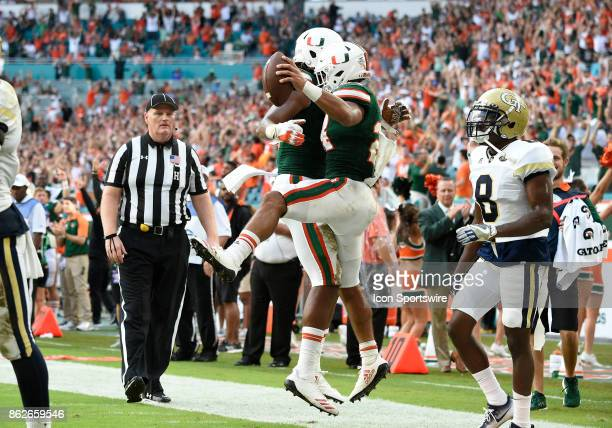 University of Miami running back Travis Homer celebrates his score during an NCAA football game between the Georgia Tech Yellow Jackets and the...
