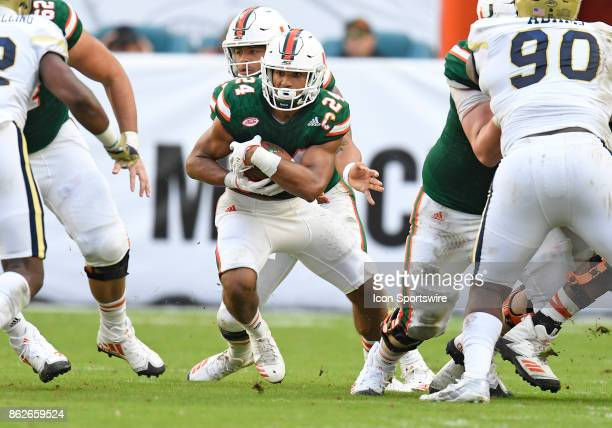 University of Miami running back Travis Homer runs during an NCAA football game between the Georgia Tech Yellow Jackets and the University of Miami...