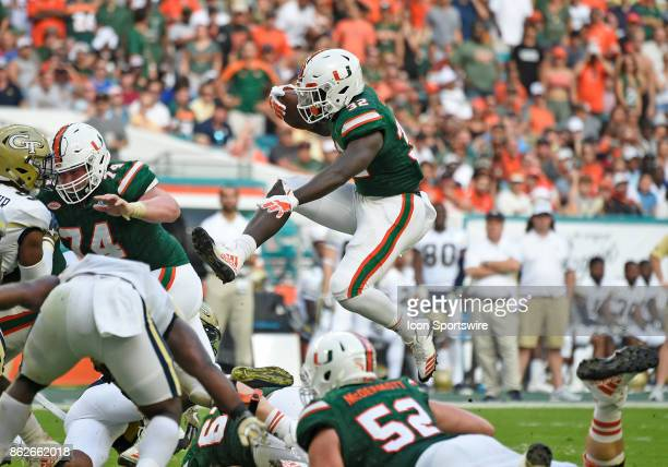 University of Miami running back Trayone Gray runs during an NCAA football game between the Georgia Tech Yellow Jackets and the University of Miami...