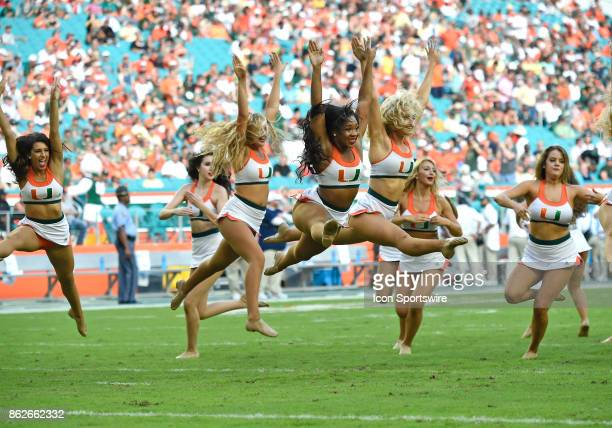University of Miami Sensations Dance Team performs during an NCAA football game between the Georgia Tech Yellow Jackets and the University of Miami...