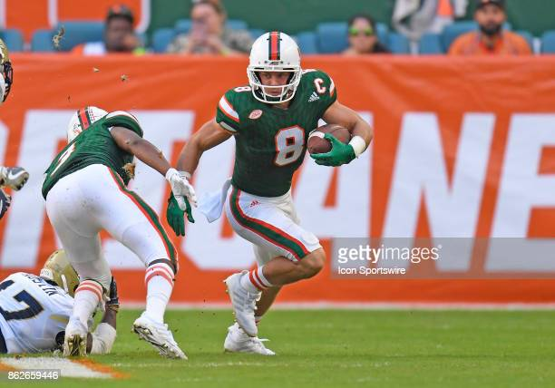 University of Miami wide receiver Braxton Berrios plays during an NCAA football game between the Georgia Tech Yellow Jackets and the University of...