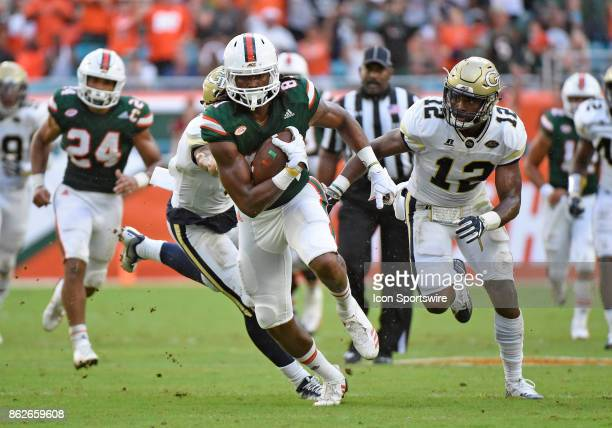 University of Miami wide receiver Darrell Langham runs during an NCAA football game between the Georgia Tech Yellow Jackets and the University of...