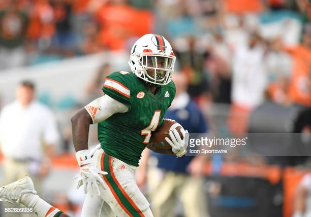 University of Miami wide receiver Jeff Thomas plays during an NCAA football game between the Georgia Tech Yellow Jackets and the University of Miami...