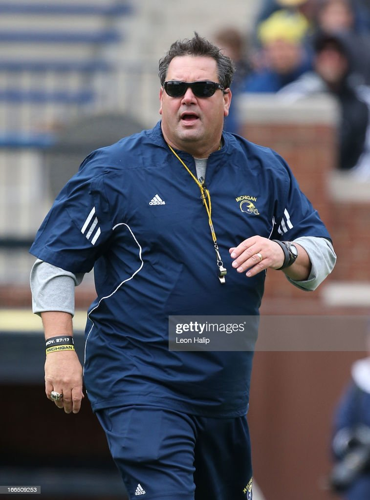 University of Michigan head coach <a gi-track='captionPersonalityLinkClicked' href=/galleries/search?phrase=Brady+Hoke&family=editorial&specificpeople=3821056 ng-click='$event.stopPropagation()'>Brady Hoke</a> watches the action during the Spring Game at Michigan Stadium on April 13, 2013 in Ann Arbor, Michigan.