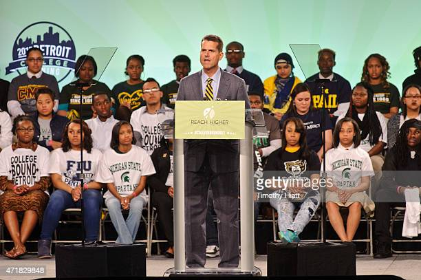 University Of Michigan head football coach Jim Harbaugh attends at the FirstEver Citywide College Signing Day With Get Schooled And Detroit College...