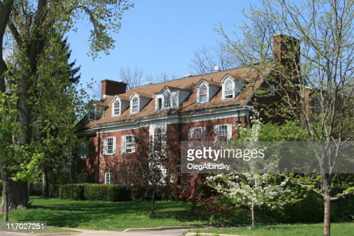 University of Michigan Sorority House, Ann Arbor. Clear blue sky.