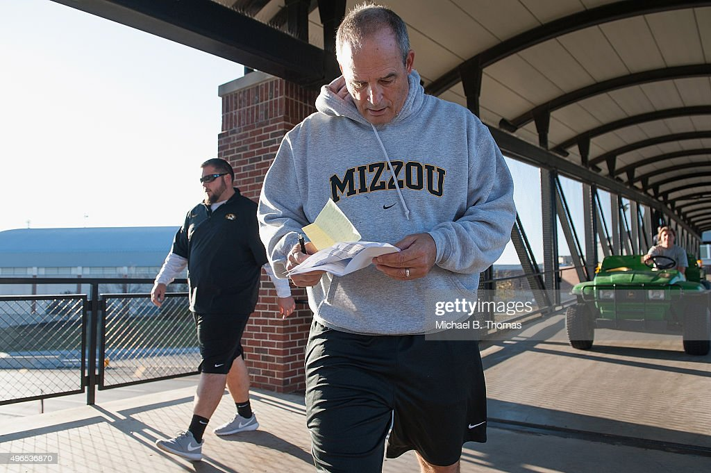 University of Missouri Tigers Football Head Coach <a gi-track='captionPersonalityLinkClicked' href=/galleries/search?phrase=Gary+Pinkel&family=editorial&specificpeople=2109950 ng-click='$event.stopPropagation()'>Gary Pinkel</a> walks to practice Memorial Stadium at Faurot Field on November 10, 2015 in Columbia, Missouri. The university looks to get things back to normal after the recent protests on campus that lead to the resignation of the school's President and Chancellor on November 9.