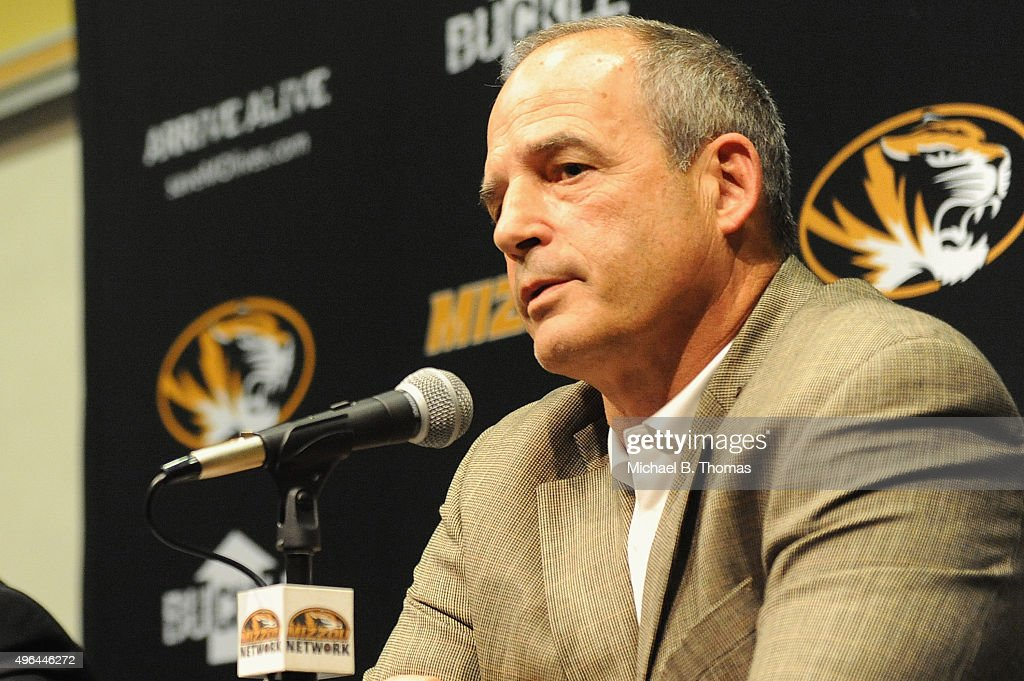 University of Missouri-Columbia head football coach <a gi-track='captionPersonalityLinkClicked' href=/galleries/search?phrase=Gary+Pinkel&family=editorial&specificpeople=2109950 ng-click='$event.stopPropagation()'>Gary Pinkel</a> speaks to the media during a news conference on the campus of University of Missouri - Columbia on November 9, 2015 in Columbia, Missouri. University of Missouri System President Tim Wolfe resigned today amid protests over racial tensions at the university.