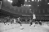 University of North Carolina basketball player Michael Jordan shoots the winning basket in the 1982 NCAA Finals against Georgetown University