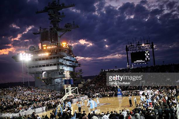 University of North Carolina battles Michigan State aboard the Aircraft Carrier USS Vinson during the Carrier Classic on Veterans Day Friday November...