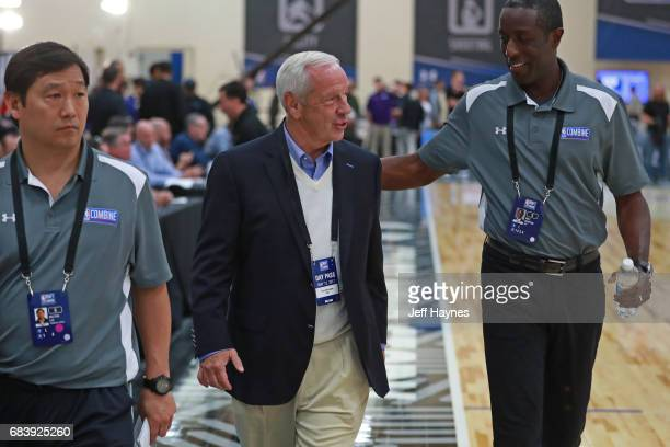 University of North Carolina head coach Roy Williams attends the NBA Draft Combine Day 2 at the Quest Multisport Center on May 12 2017 in Chicago...