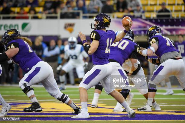 University of Northern Iowa quarterback Colton Howell enjoys a clean pocket as he throws to the flat during the football game between the Indiana...