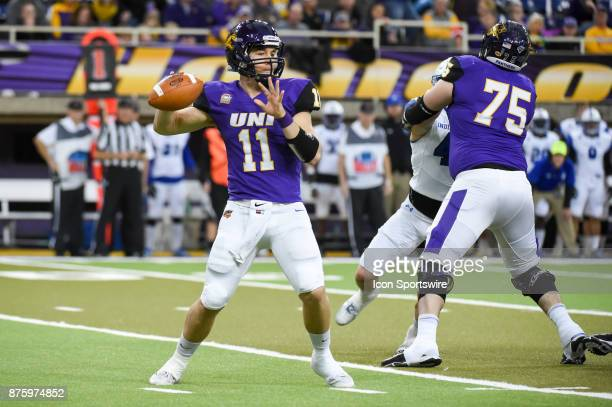 University of Northern Iowa quarterback Colton Howell looks to pass to the flat during the football game between the Indiana State Sycamores and the...