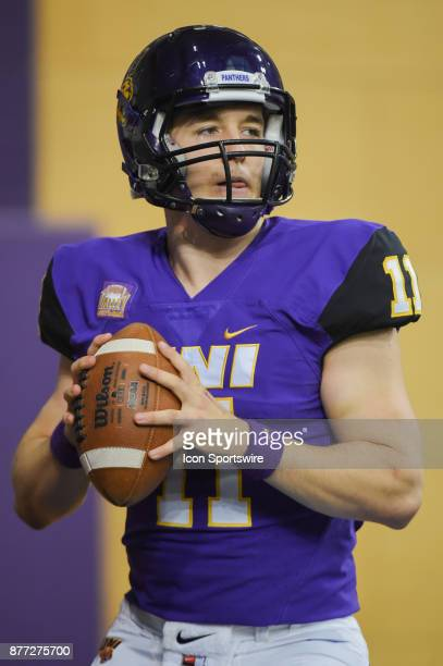 University of Northern Iowa quarterback Colton Howell warms up before the football game between the Indiana State Sycamores and the University of...