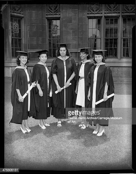 University of Pittsburgh graduates Genevieve Howard Alberta W Brown Jean Williams Marilyn Duncan and Miss Womack posed with diplomas in front of...
