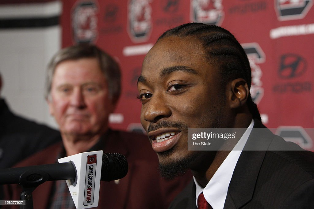 University of South Carolina running back Marcus Lattimore announces Wednesday, December 12, 2012, his intentions to enter the NFL draft during a press conference in Columbia, South Carolina.