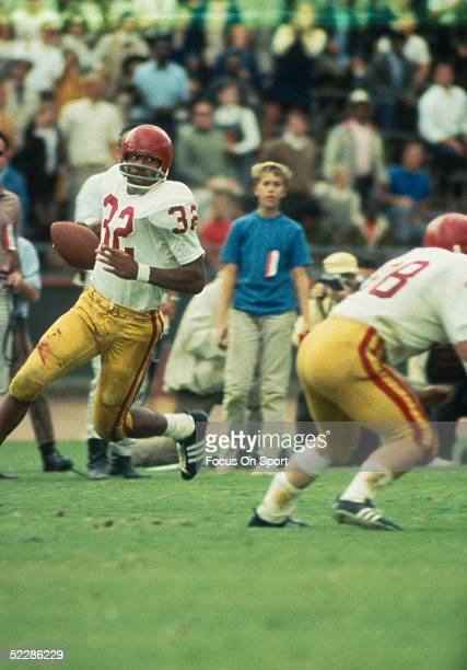 University of Southern California's running back OJ Simpson runs with the ball during a game at USC in 1968 in Los Angeles California