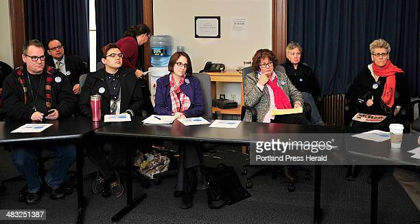 University of Southern Maine students from left Phillip Shelley Jules Purnell and professors Meghan Brodie Susan Feiner Lorrayne Carroll and Wendy...