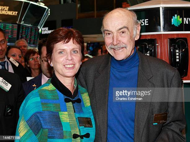 University of St Andrews Principal and Vice Chancellor Louise Richardson and Actor Sir Sean Connery visit the New York Stock Exchange on May 17 2012...