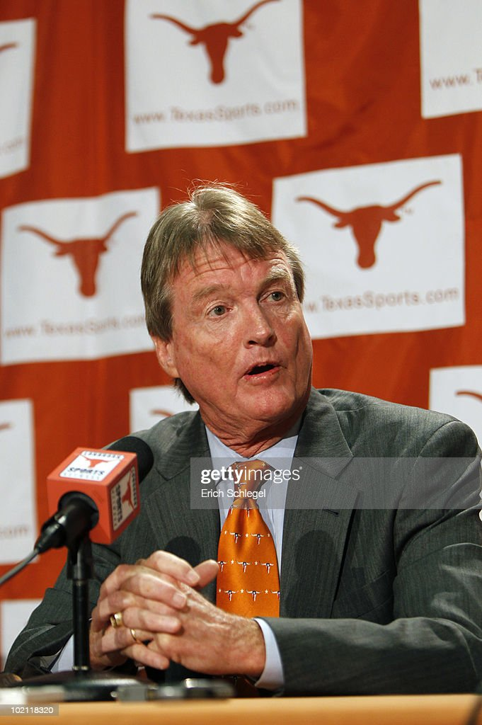 University of Texas at Austin President William Powers Jr. announces the athletics programs will continue competing in the Big 12 Conference June 15, 2010 in Austin, Texas.