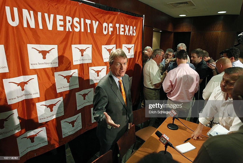 University of Texas at Austin President William Powers Jr. talks to reporters after announcing the athletics programs will continue competing in the Big 12 Conference June 15, 2010 in Austin, Texas.