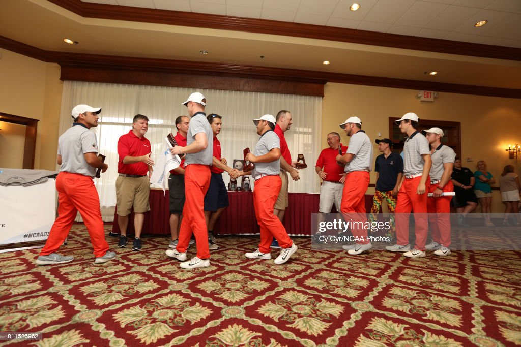 University of Texas at Tyler receives the third place trophy following the Division III Men's Golf Championship held at the Mission Inn Resort and Club on May 19, 2017 in Howey In The Hills, Florida.