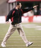 University of Utah head coach Urban Meyer yells at his players during a game against BYU November 20 2004 at Rice Eccles Stadium in Salt Lake City...