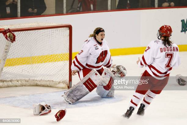 University of Wisconsin goaltender Alex Rigsby celebrates with Meghan Duggan during their victory over Boston University in the Division I Women's...