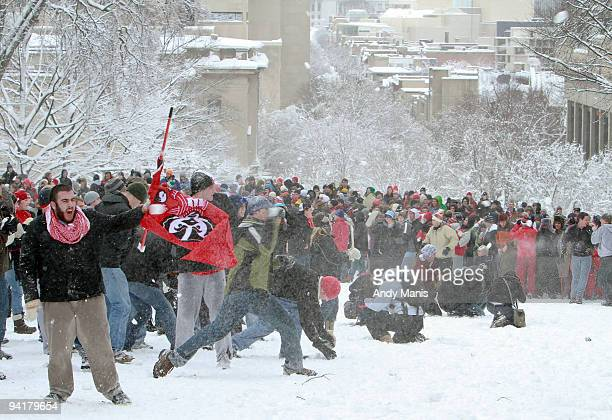 University of WisconsinMadison students battle in a campuswide snowball fight on Bascom Hil December 9 2009 in Madison Wisconsin Classes were...