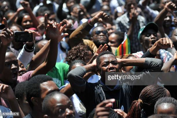 University of Zimbabwe's students take part in a demonstration on November 20 2017 in Harare to demand the withdrawal of Grace Mugabe's doctorate and...