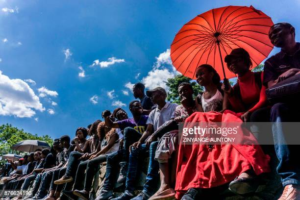 TOPSHOT University of Zimbabwe's students take part in a demonstration on November 20 2017 in Harare to demand the withdrawal of Grace Mugabe's...