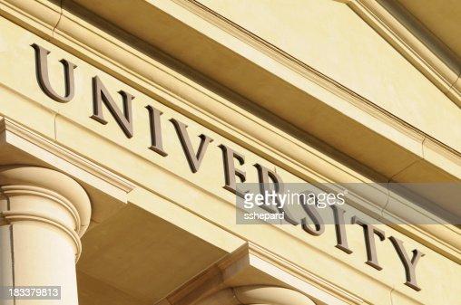 University sign close up