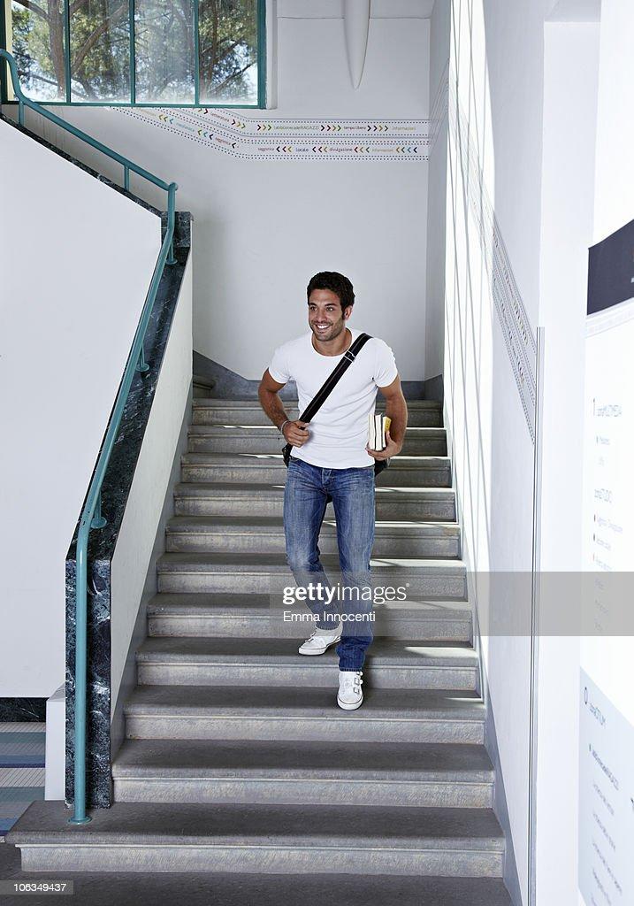 university, stairs, boy, running down : Stock Photo