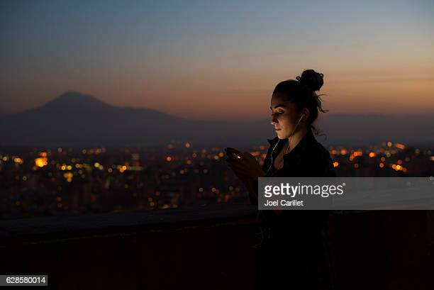 University student at dusk in Yerevan, Armenia