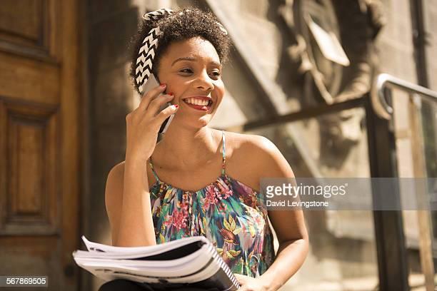 University student on phone